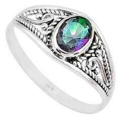 1.32cts multicolor rainbow topaz silver graduation handmade ring size 5.5 t9271