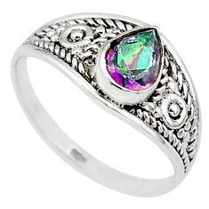 1.59cts multicolor rainbow topaz silver graduation handmade ring size 7 t9515
