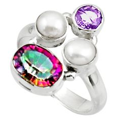 6.07cts multicolor rainbow topaz amethyst 925 sterling silver ring size 8 r44683