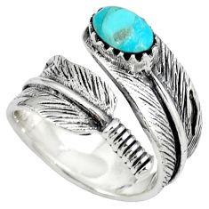Native american arizona turquoise 925 silver adjustable ring size 7.5 c10394