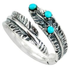 Native american blue arizona turquoise 925 silver adjustable ring size 7 c10384
