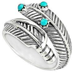 Native american blue arizona turquoise 925 silver adjustable ring size 9 c10393