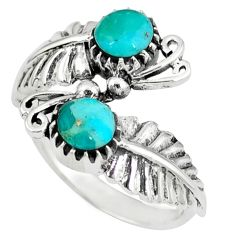 Native american natural arizona turquoise round 925 silver ring size 8.5 c10398