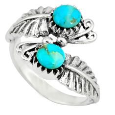 Native american natural blue arizona turquoise 925 silver ring size 9.5 c10385