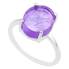 5.30cts natural 10x12mm amethyst rough 925 sterling silver ring size 8 r90005