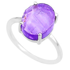 5.54cts natural 10x12mm amethyst raw 925 sterling silver ring size 8 r90006