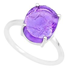 5.35cts natural 10x12mm amethyst raw 925 sterling silver ring size 8 r90007