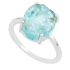 5.20cts natural 10x12mm aquamarine rough 925 sterling silver ring size 7 r90021