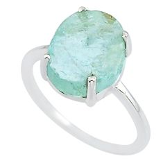 4.85cts natural 10x12mm aquamarine rough 925 sterling silver ring size 7 r90029