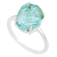 5.00cts natural 10x12mm aquamarine raw 925 sterling silver ring size 8 r90026