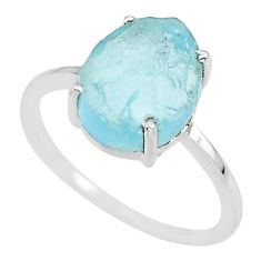 5.05cts natural 10x12mm aquamarine raw 925 sterling silver ring size 9 r90027