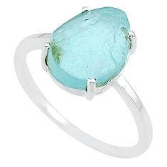 4.98cts natural 10x12mm aquamarine rough 925 sterling silver ring size 9 r90028
