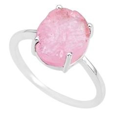4.96cts natural 10x12mm morganite raw 925 sterling silver ring size 9 r90035