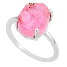 5.08cts natural 10x12mm rose quartz raw 925 sterling silver ring size 7 r89998