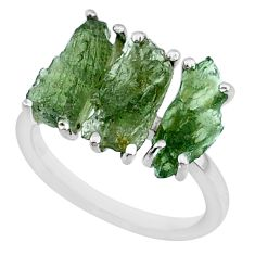 8.00cts natural 3 stone moldavite (genuine czech) 925 silver ring size 6 r71958