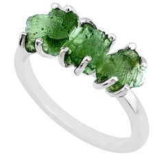 7.98cts natural 3 stone moldavite (genuine czech) 925 silver ring size 7 r71950
