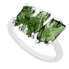 8.00cts natural 3 stone moldavite (genuine czech) 925 silver ring size 7 r71955