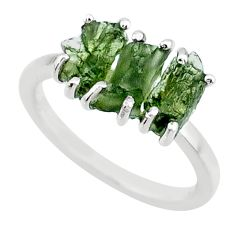 8.00cts natural 3 stone moldavite (genuine czech) 925 silver ring size 7 r71956