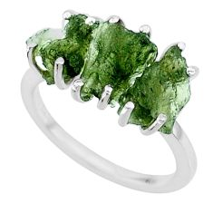7.87cts natural 3 stone moldavite (genuine czech) 925 silver ring size 7 r71959