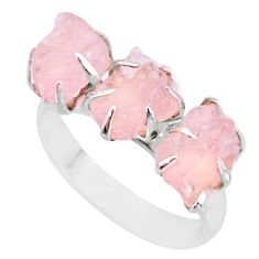 8.10cts natural 3 stone rose quartz raw 925 sterling silver ring size 8 t7157