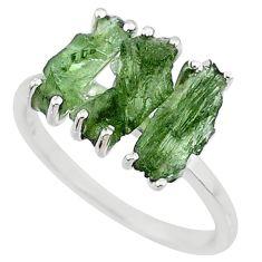 8.33cts natural 3 stonemoldavite (genuine czech) 925 silver ring size 9.5 r71952