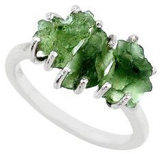 9.34cts natural 3 stonemoldavite (genuine czech) fancy silver ring size 8 r71965