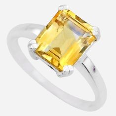 4.16cts natural 8x10mm citrine 925 silver solitaire ring jewelry size 7 r71317