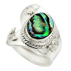 4.94cts natural abalone paua seashell 925 silver adjustable ring size 6.5 r49665