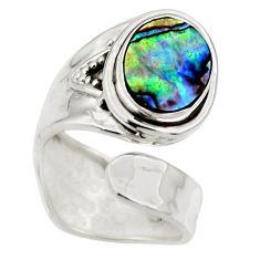 4.23cts natural abalone paua seashell 925 silver adjustable ring size 5.5 r49746