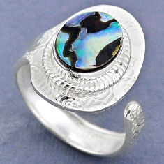 3.80cts natural abalone paua seashell 925 silver adjustable ring size 8.5 r63317
