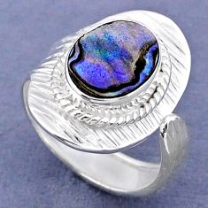 3.65cts natural abalone paua seashell 925 silver adjustable ring size 7.5 r63337