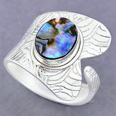 4.19cts natural abalone paua seashell 925 silver adjustable ring size 9.5 r90513