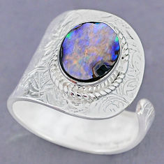 4.33cts natural abalone paua seashell 925 silver adjustable ring size 9.5 r90556