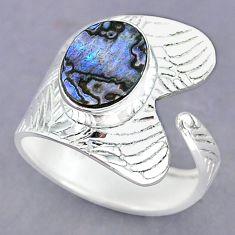 4.47cts natural abalone paua seashell 925 silver adjustable ring size 10 r90515