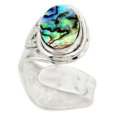 4.30cts natural abalone paua seashell 925 silver adjustable ring size 5 r49666