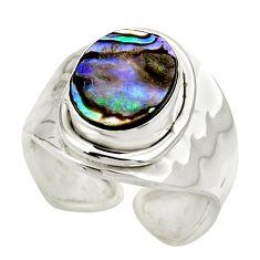 4.30cts natural abalone paua seashell 925 silver adjustable ring size 6 r49663