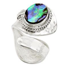 4.53cts natural abalone paua seashell 925 silver adjustable ring size 6 r49748