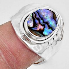 4.47cts natural abalone paua seashell 925 silver adjustable ring size 6 r49760