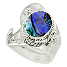 4.51cts natural abalone paua seashell 925 silver adjustable ring size 7 r49677