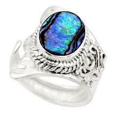 4.52cts natural abalone paua seashell 925 silver adjustable ring size 7 r49741