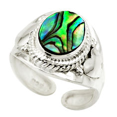 4.30cts natural abalone paua seashell 925 silver adjustable ring size 8 r49667