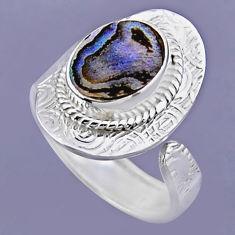 3.73cts natural abalone paua seashell 925 silver adjustable ring size 8 r54709