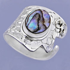 3.91cts natural abalone paua seashell 925 silver adjustable ring size 8 r54862