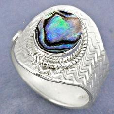 3.64cts natural abalone paua seashell 925 silver adjustable ring size 8 r63299