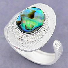 4.15cts natural abalone paua seashell 925 silver adjustable ring size 8 r90552