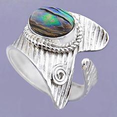 3.91cts natural abalone paua seashell 925 silver adjustable ring size 9 r54894