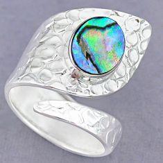 4.17cts natural abalone paua seashell 925 silver adjustable ring size 9 r90555