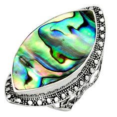 14.88cts natural abalone paua seashell 925 silver solitaire ring size 7.5 c9819