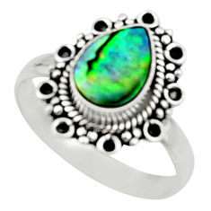 2.28cts natural abalone paua seashell 925 silver solitaire ring size 8.5 r52342