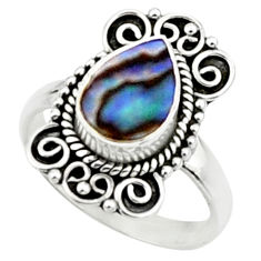 2.44cts natural abalone paua seashell 925 silver solitaire ring size 8.5 r52343
